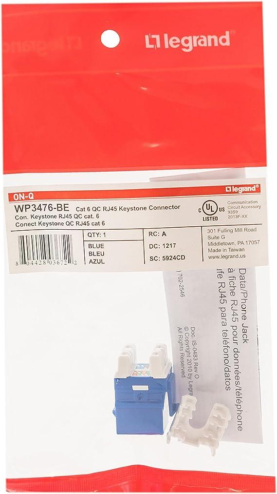 BLUE CAT6 ON-Q LEGRAND WP3476-BE CATEGORY 6 QUICK-CONNECT RJ45 KEYSTONE JACK