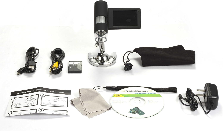 MeterTo Portable Digital Microscope USB TV Cable MicroSD 3inches LCD TFT 20x-200x-500x 5M Sensor