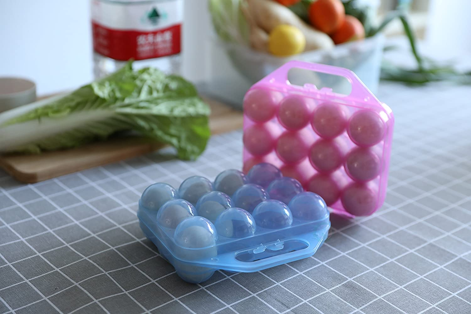 Clear Plastic Egg Carton Blue 12 Egg Holder Carrying Case with Handle