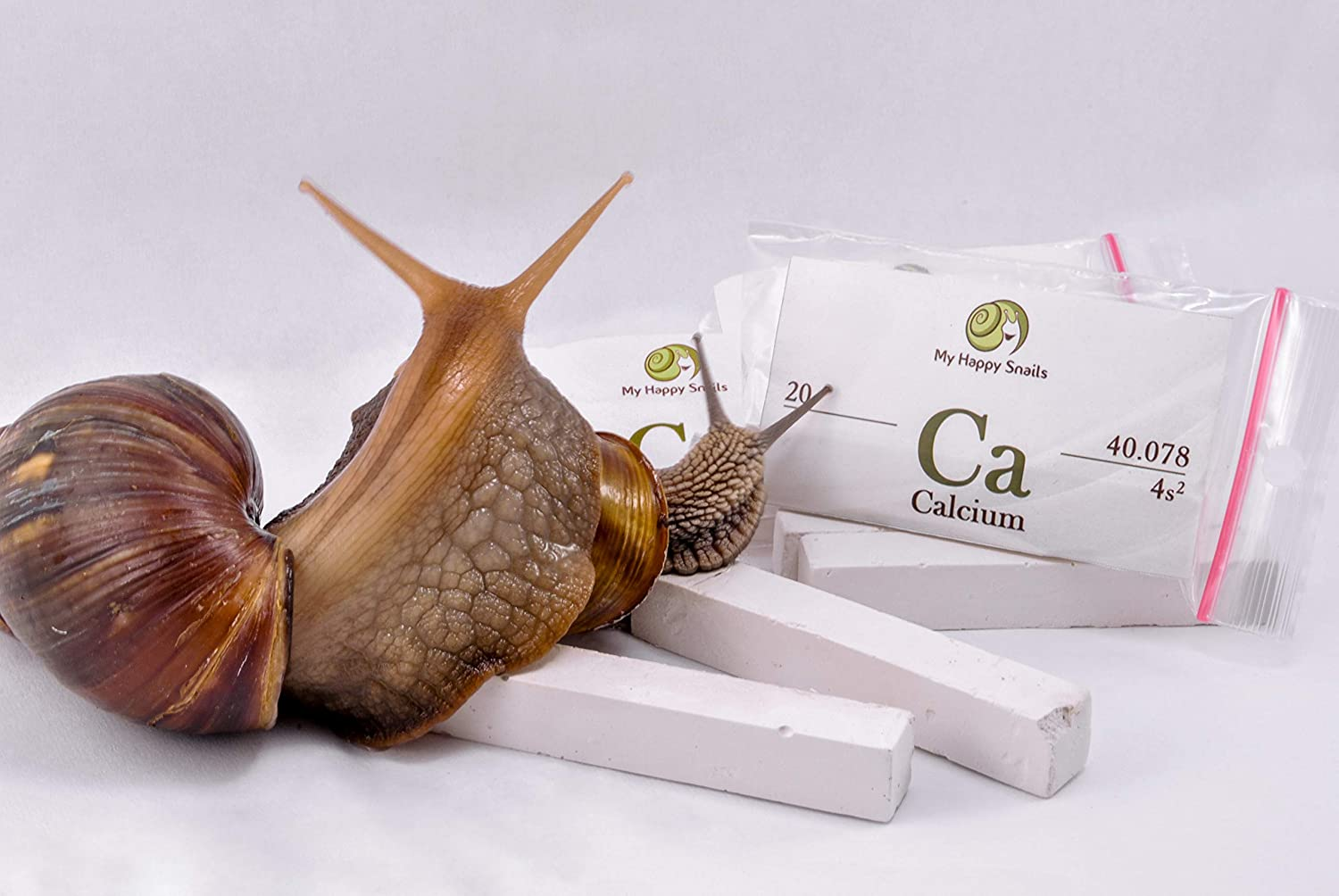 Organic Calcium for Pet Snails (3 Sticks) - for All Types of Land Snails : Garden Snail, Giant African Snail, Helix Aspersa, Pomatia etc