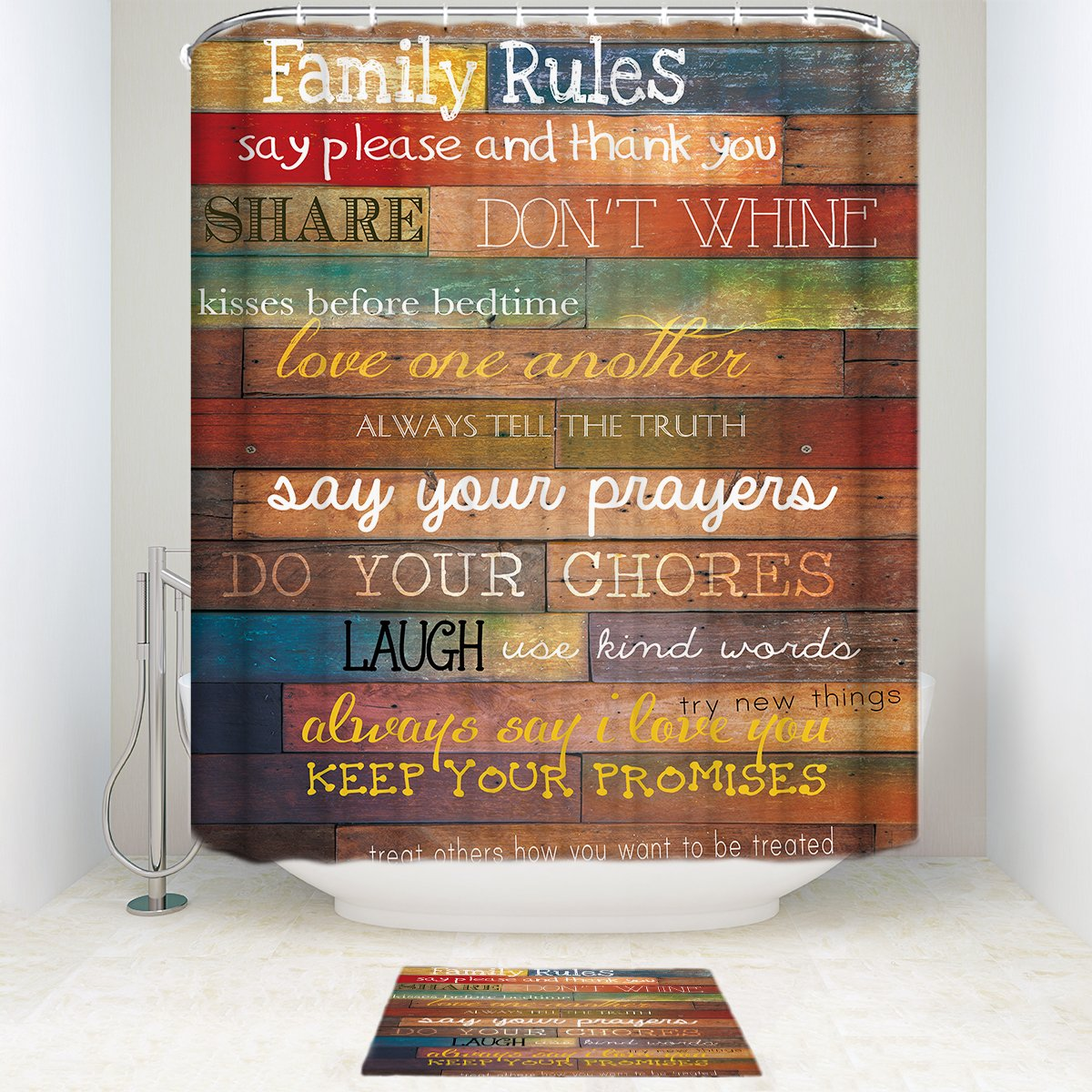 SUN-Shine Family Rules Rustic Wood Bathroom Shower Curtain Sets With Mats Rugs And Accessory
