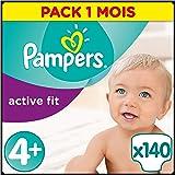 Pampers - Active Fit - Couches Taille 4+ (9-18 kg/Maxi+) - Pack économique 1 mois de consommation (x140 couches)