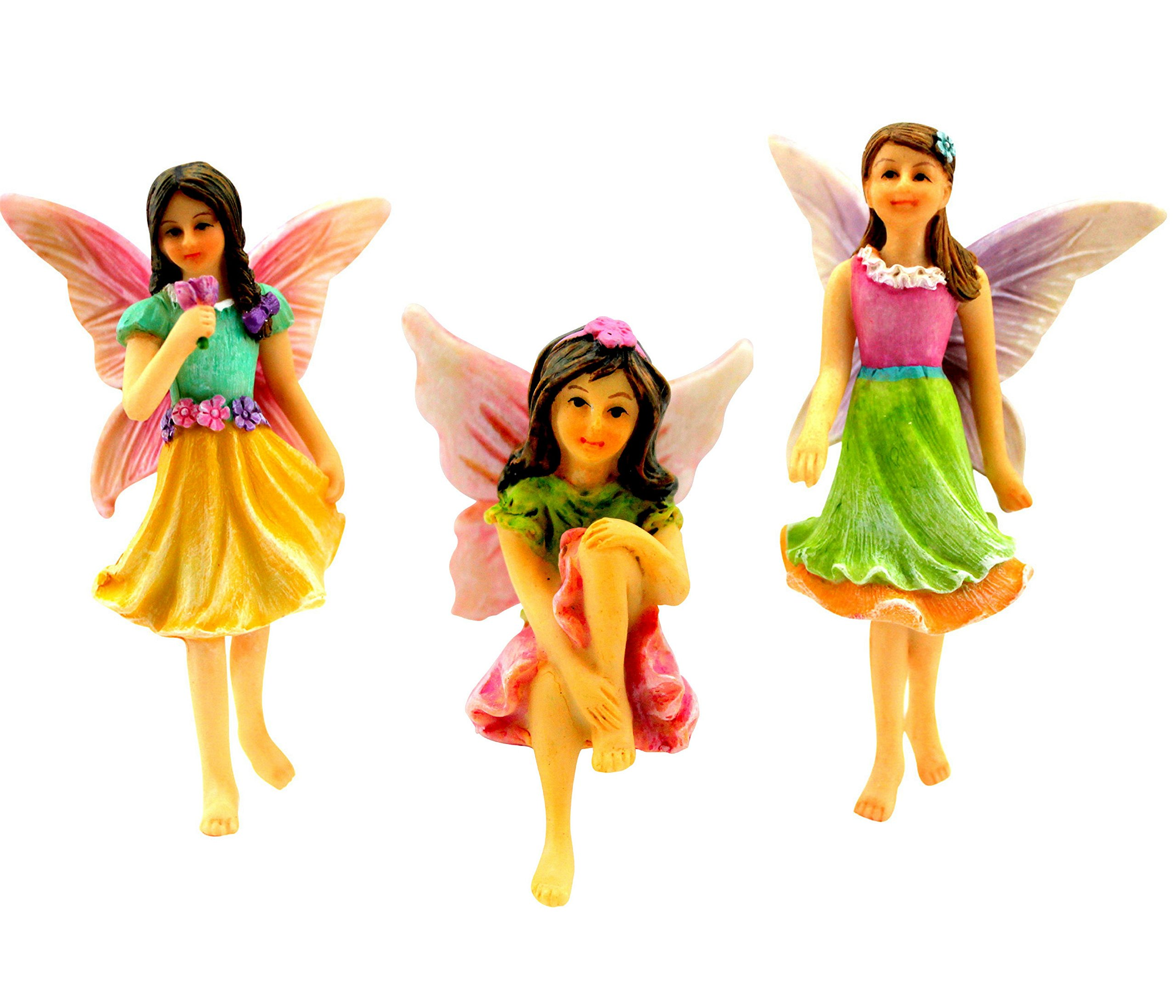 Pretmanns Fairy Garden Fairies – Kit with Miniature Accessories – 3 Garden Fairies – Fairy Garden Supplies