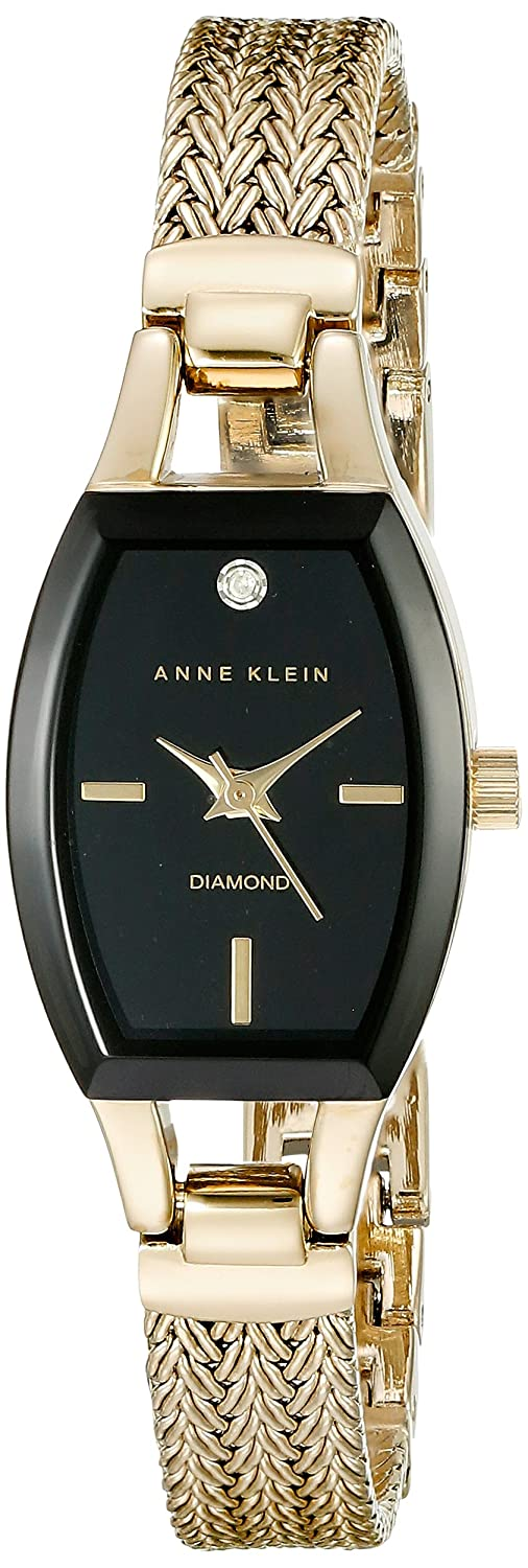 Anne Klein Women s AK 2184BKGB Diamond-Accented Dial Gold-Tone Mesh Bracelet Watch
