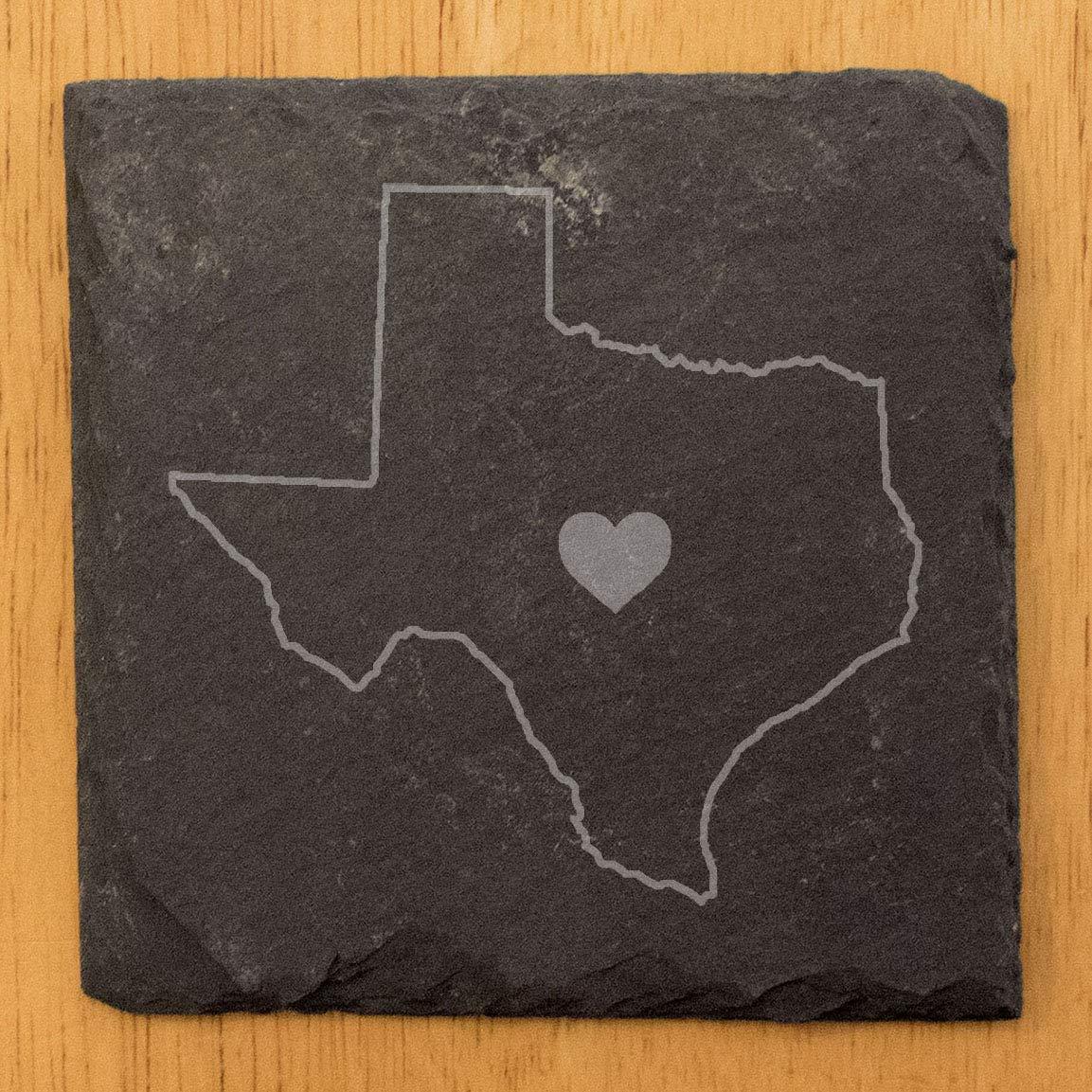 set of 8 Square Slate Love Texas Coasters
