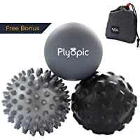 Plyopic Massage Ball Set – Includes Rubber, Spiky and Foam Roller Massager Balls - 7cm | For Myofascial Release, Trigger Point Relief, Plantar Fasciitis Therapy. Eliminate Muscle Pain: Back Neck Foot