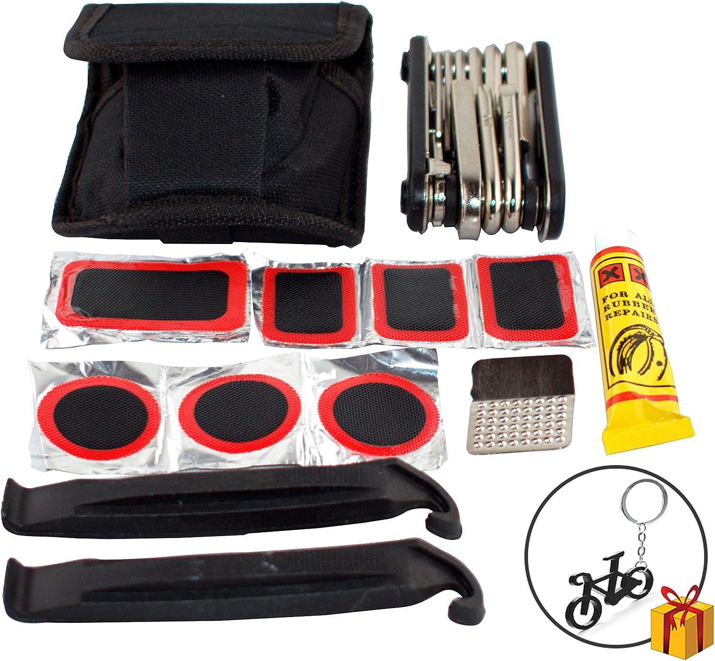 TL Herramienta Bicicleta MULTIFUNCION 16en1 con Kit reparación de pinchazos para Bicicleta + Bomba DE Bicicleta – Inflador para Rueda con Cabezal adaptativo a válvulas Presta y Schrader: Amazon.es: Deportes y aire