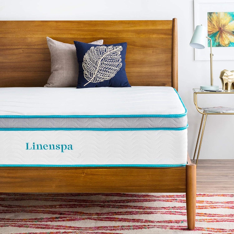 LINENSPA 12 Inch Gel Memory Foam Hybrid Mattress – Ultra Plush – Individually Encased Coils – Sleeps Cooler Than Regular Memory Foam – Edge Support – Quilted Foam Cover – Queen