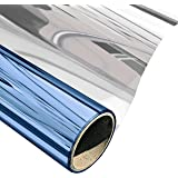 """Window Stained Glass Screen Film Tint No Glue Static Cling Heat Block Mirror Film Self Adhesive One Way Home Privacy Decorative Sticker,Blue-Silver(23.6""""x78.7"""")"""