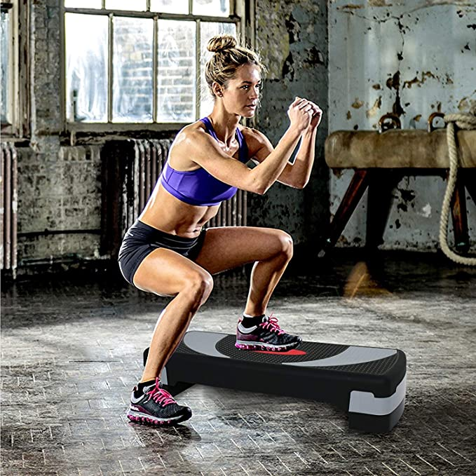 """8/"""" in Fitness /& Exercise 30/'/' Adjustable Workout Stepper Aerobic Step 4/"""" 6/"""""""