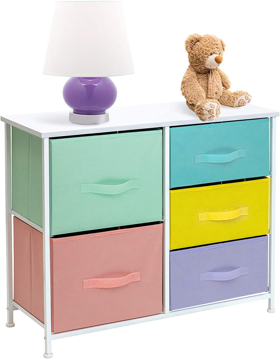 Sorbus Dresser with 5 Drawers Furniture Storage Tower Chest for Kid's, Teens, Bedroom, Nursery, Playroom, Closet, Clothes, Toy Organization-Steel Frame, Wood Top, Easy Pull Fabric Bins (Pastel)