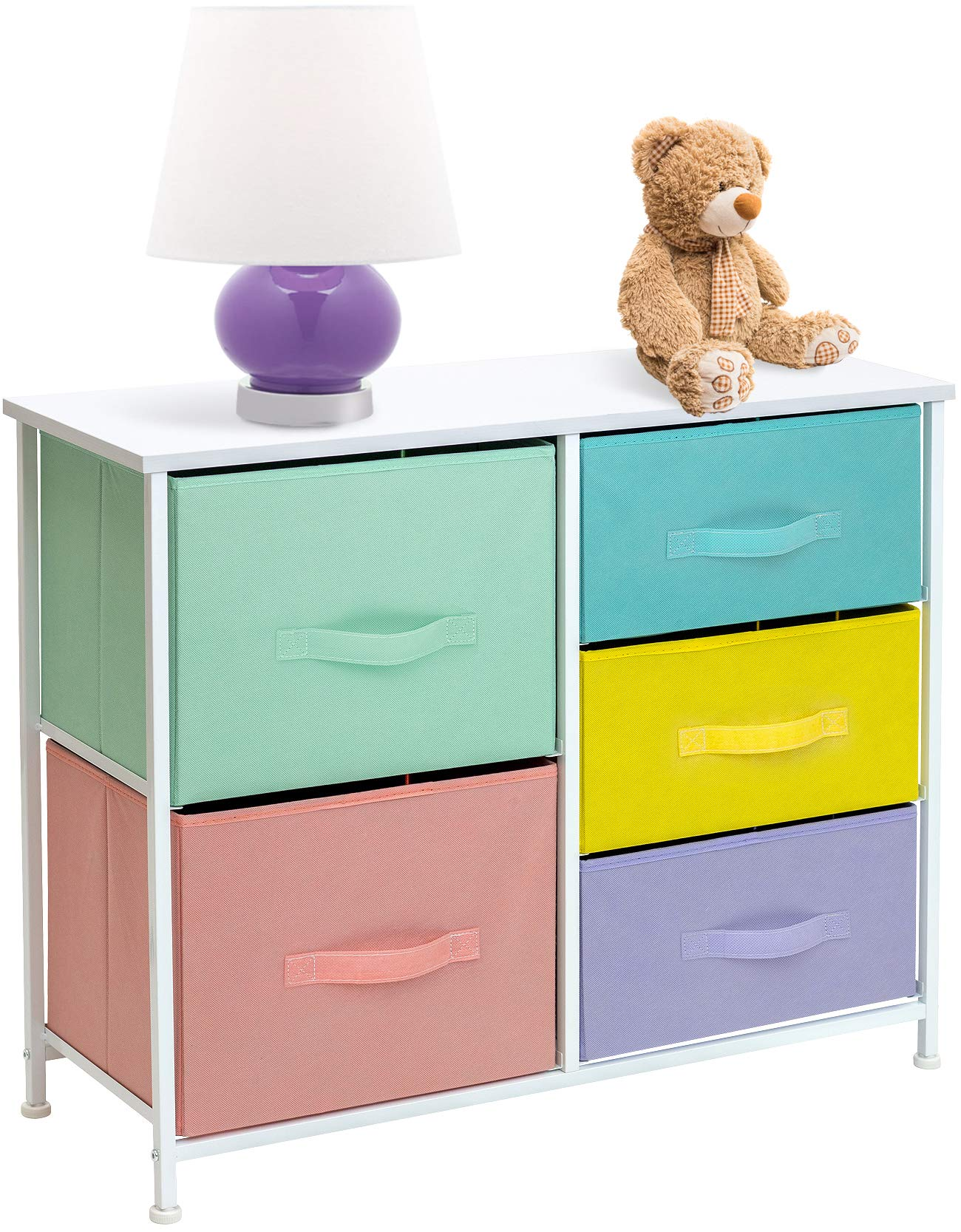 Sorbus Dresser with 5 Drawers Furniture Storage Tower Chest for Kid's, Teens, Bedroom, Nursery, Playroom, Closet, Clothes, Toy Organization-Steel Frame, Wood Top, Easy Pull Fabric Bins (Pastel) by Sorbus