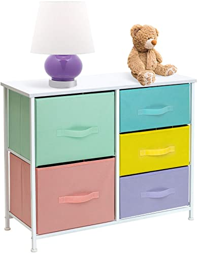Sorbus Dresser with 5 Drawers Furniture Storage Tower Chest for Kid s, Teens, Bedroom, Nursery, Playroom, Closet, Clothes, Toy Organization-Steel Frame, Wood Top, Easy Pull Fabric Bins, Pastel White