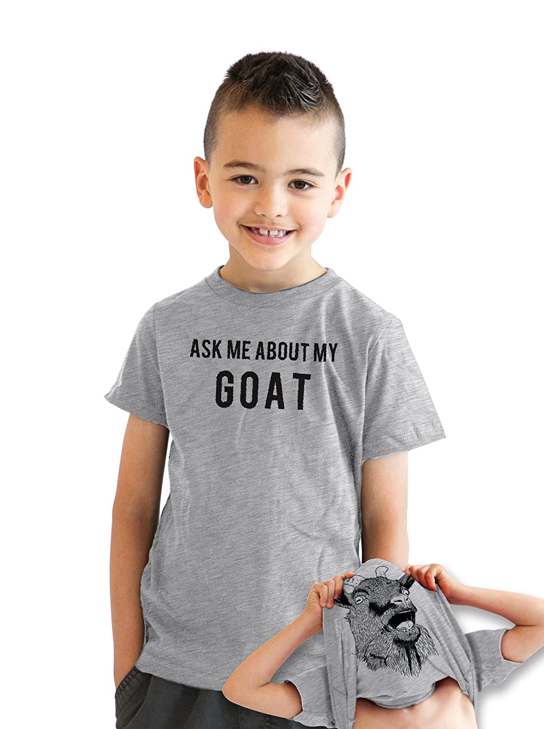 Youth Ask Me About My Goat Animal Zoo Flip Shirt for Kids Crazy Dog Tshirts