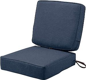 Classic Accessories Montlake Water-Resistant 25 x 25 x 5 Inch (seat)/25 x 22 x 4 Inch (back) Patio Cushion Set, Heather Indigo Blue
