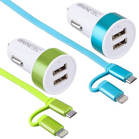 NINETEC/® 3.1A Dual Auto Ladeger/ät Zigarettenanz/ünder 2x Smart IQ USB 2in1 Ladekabel Blau Lightning f/ür Apple und Micro-USB f/ür Android Ger/äte