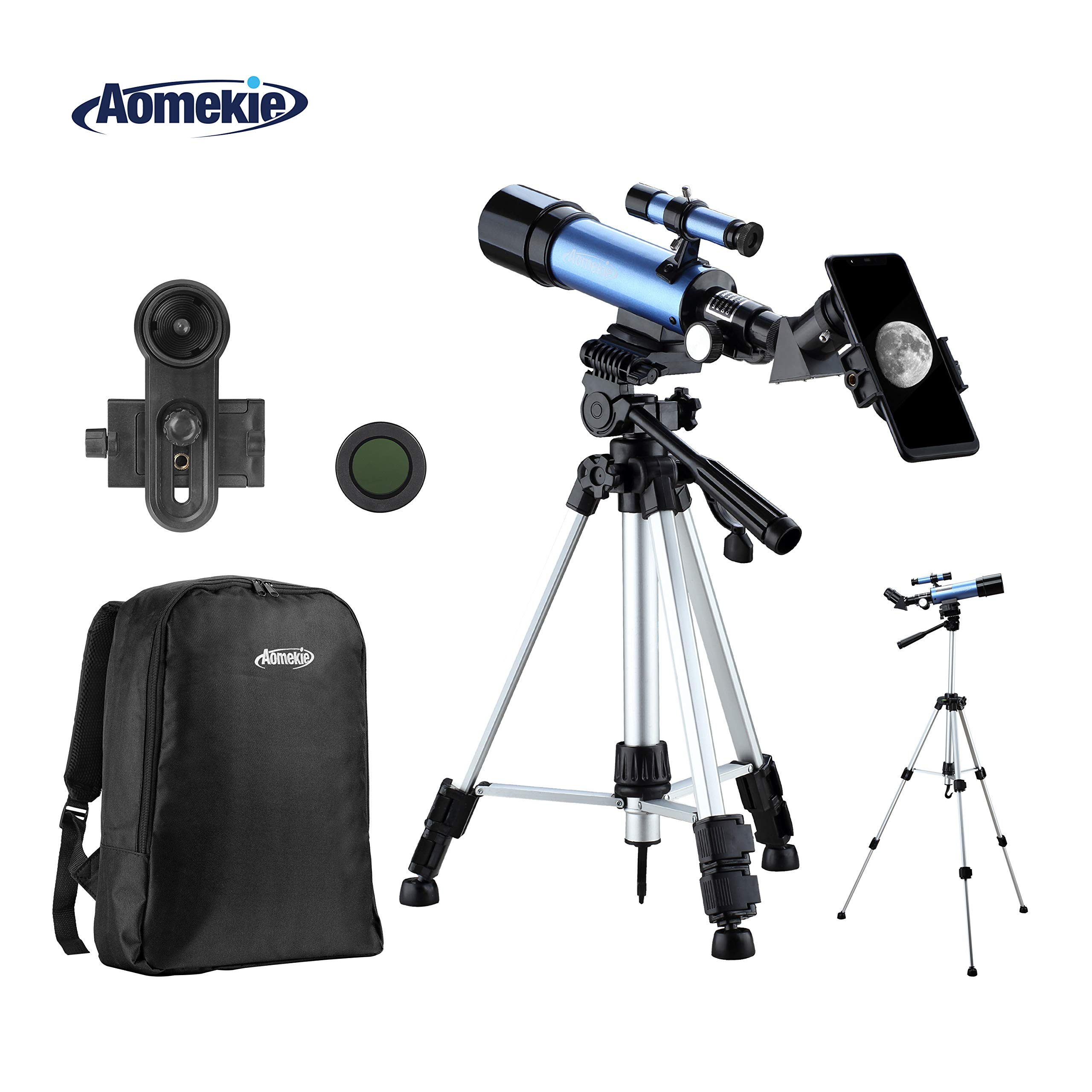 Aomekie Telescopes for Kids Adults Astronomy Beginners Refractor Telescope with Adjustable Tripod 10X Phone Adapter Finderscope Moon Filter 3X Barlow Lens and Backpack by AOMEKIE
