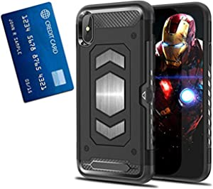 iPhone XS Case I Card Holder with Metal Back for Magnetic Car Mount iPhone X Cell Phone Cases I ull Body Armor Cases for Apple iPhone XS I Slim Heavy Duty Protector Cell Phone Cases
