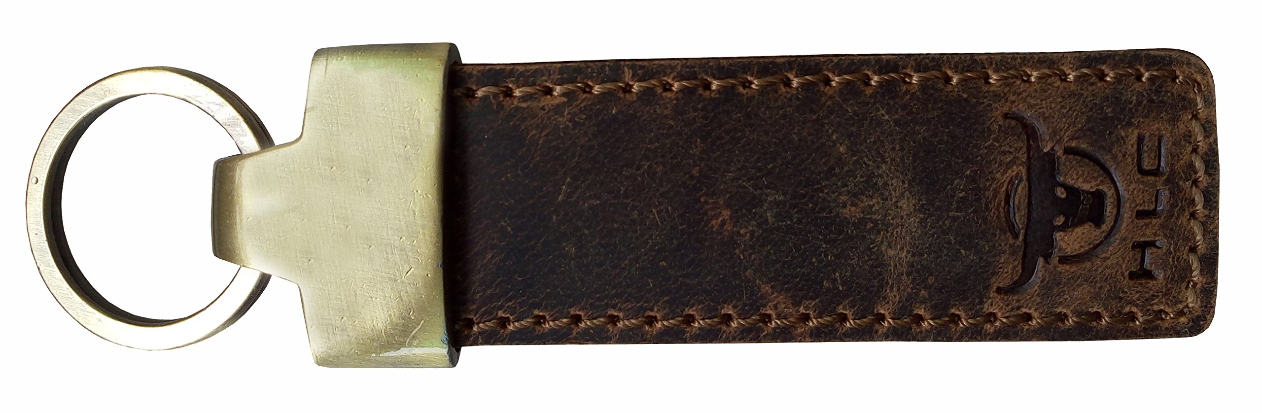 HLC Genuine Leather Elegant Multi Ring Crest Leather Key Chain