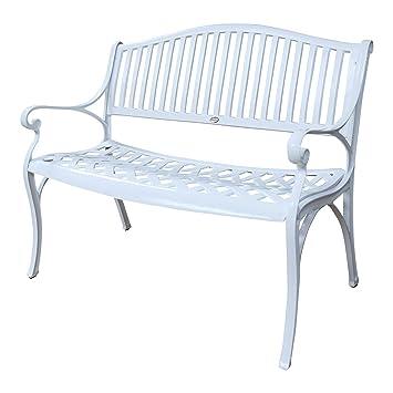 Banc de jardin Grace en aluminium - design \'Fer Forgé\' - blanc ...