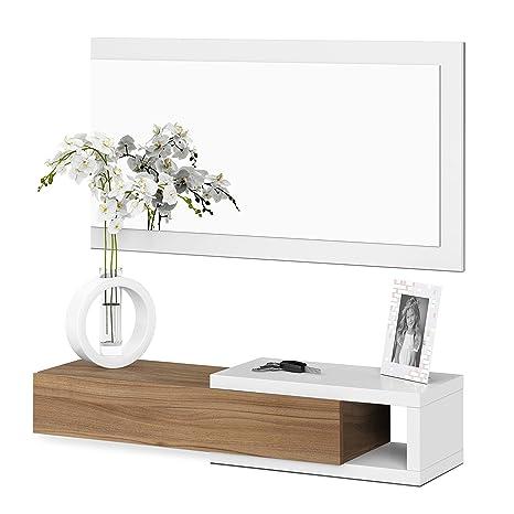 Habitdesign Recibidor con cajón y Espejo, Blanco Artik y Nogal, 19 x 95 x 26 cm
