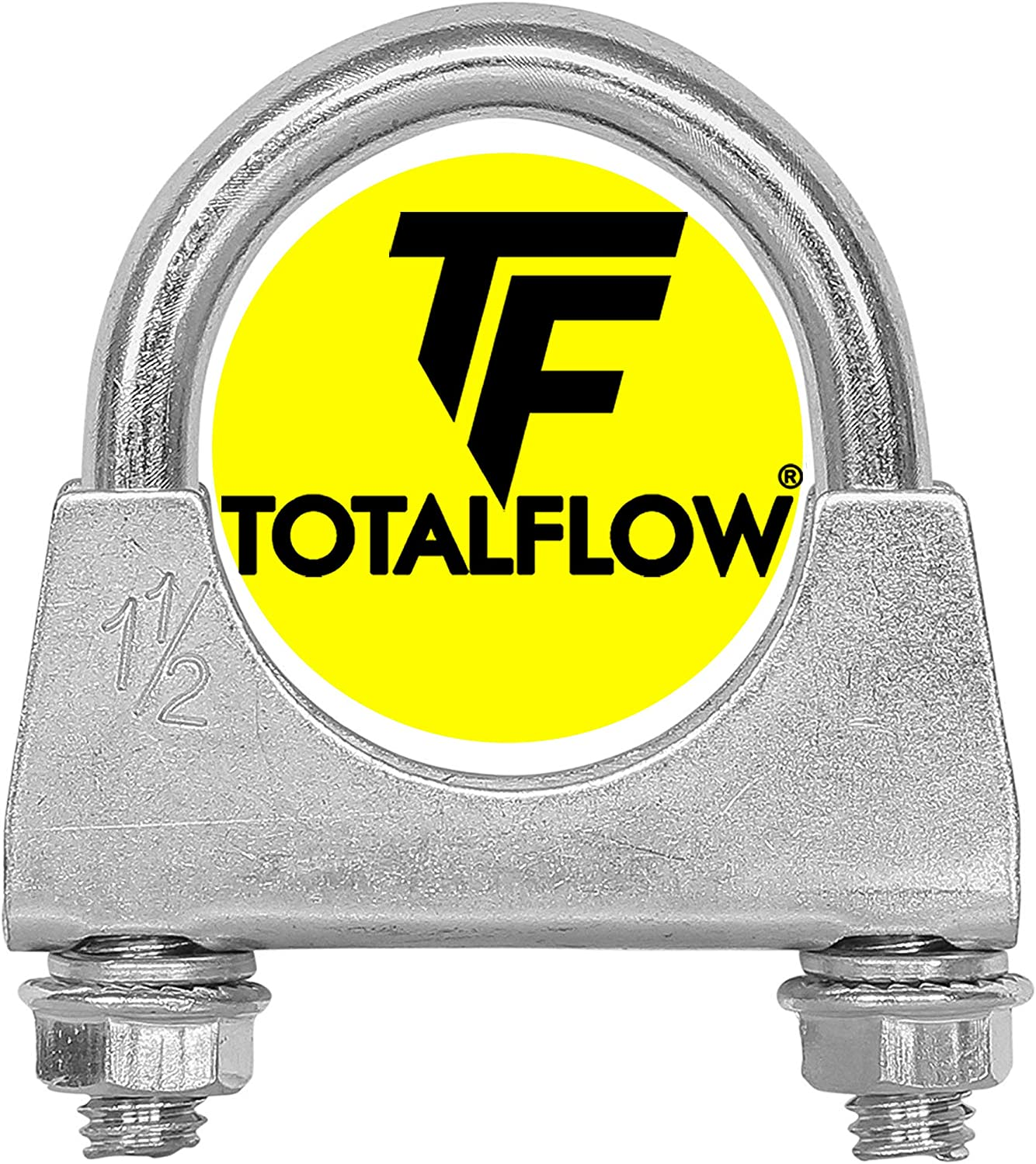 TOTALFLOW Natural Finish 3.25 TF-U325 304 Stainless Steel Saddle U-Bolt Exhaust Muffler Clamp-3.25 Inch