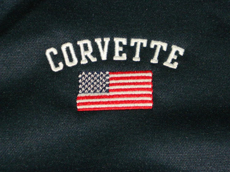 Corvette Jacket American Flag Full Zip Navy