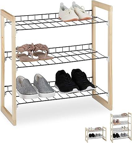 Relaxdays Zapatero Recibidor, Estantería Zapatos, Organizador 3 Baldas, Madera-Hierro, 1 Ud, 59x57,5x29 cm, Marrón-Negro