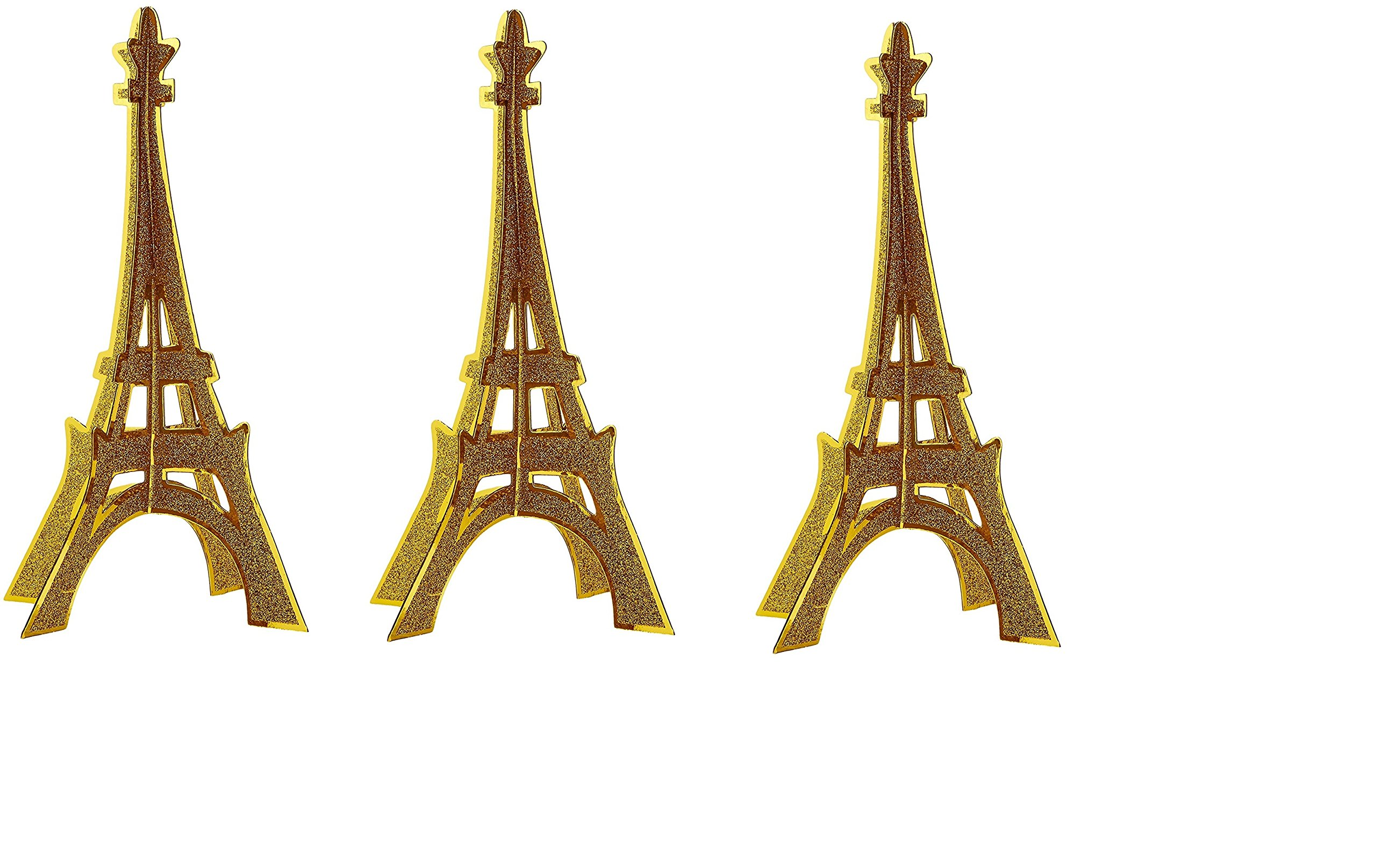 Glittered 3-D Eiffel Tower Centerpiece Party Accessory (3-Pack)