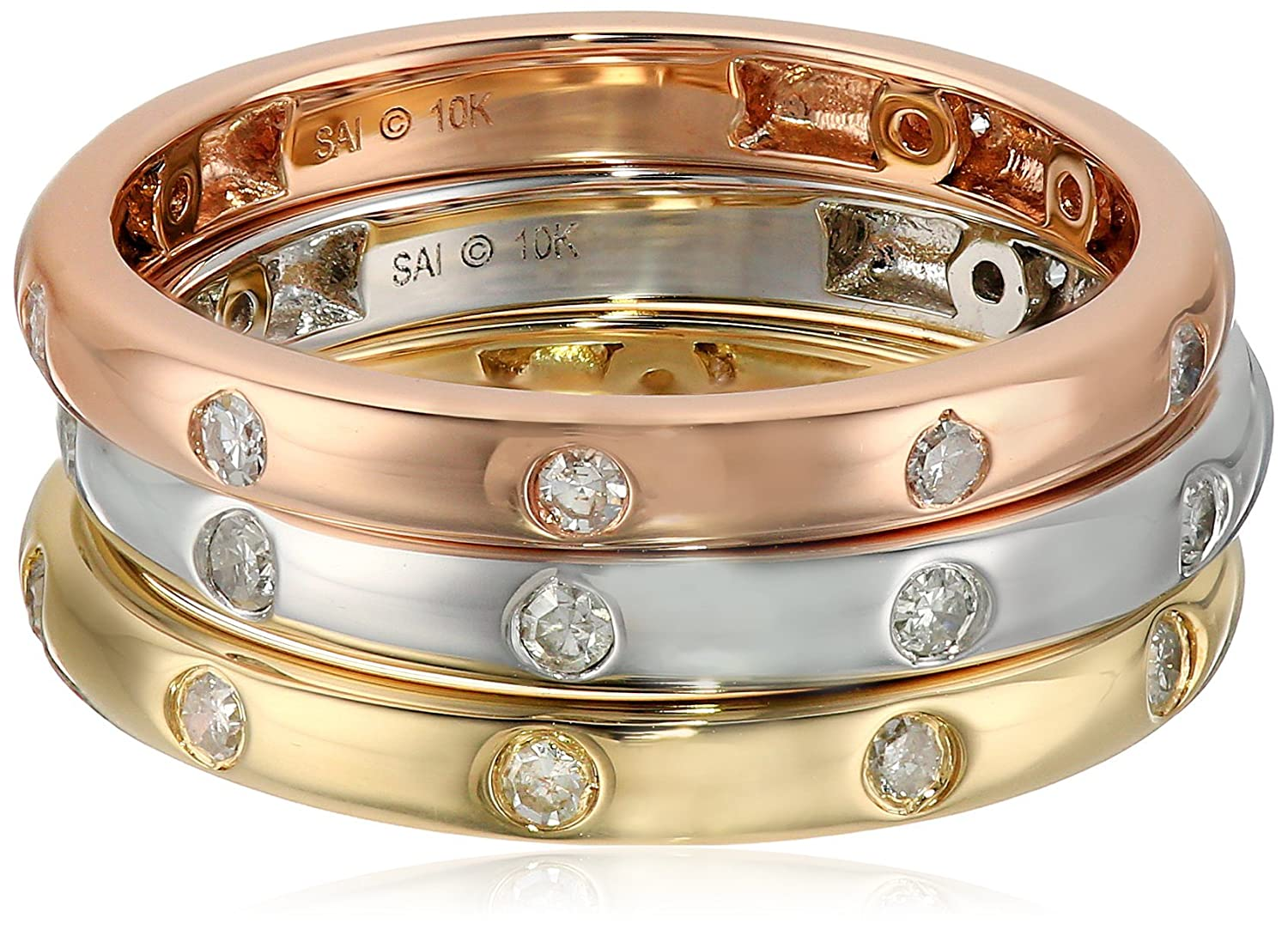 10k White and Yellow and Pink Gold Bezel Diamond Stackable Ring (3/8cttw, I-J Color, I2-I3 Clarity), Size 7