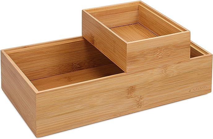 Navaris 2X Caja de Almacenamiento de bambú - Cajones apilables para almacenaje - Set Organizador apilable sin Tapa de Cajas Multiusos - En 2 tamaños: Amazon.es: Hogar
