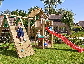 Jungle Gym Cubby Climb Rojo Parques Infantiles de Madera para Jardin con Tobogan y Muro de Escalada: Amazon.es: Juguetes y juegos