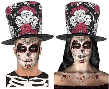Amazoncom Day Of Dead Sugar Skull Rose Black Red Top Hat