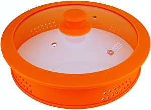 Glass & Silicone Microwave Plate Cover with Easy Grip Silicone Knob - Modern Ergonomic Design Food Cover with Wide glass top and Vent Holes Easy to Clean Dish washer safe and BPA free - Orange