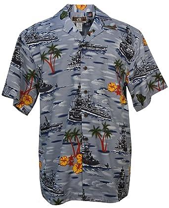 34300a2d Amazon.com: US Battleships - Men's Hawaiian Print Aloha Shirt - in ...