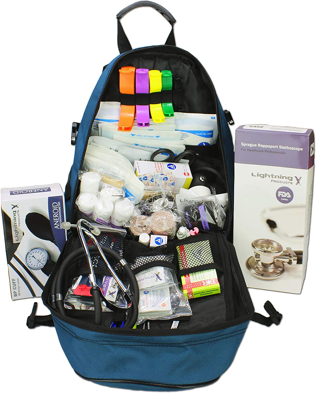 Lightning X First Responder EMT/EMS Backpack Stocked First Aid Supplies Kit B (Navy Blue): Health & Personal Care