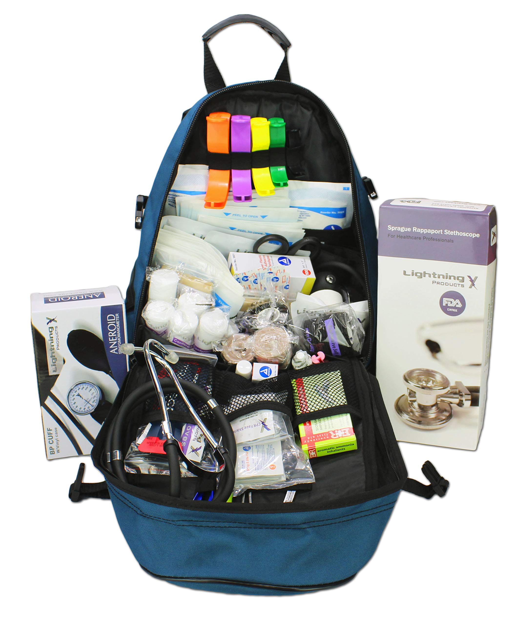 Lightning X First Responder EMT/EMS Backpack Stocked First Aid Supplies Kit B (Navy Blue)