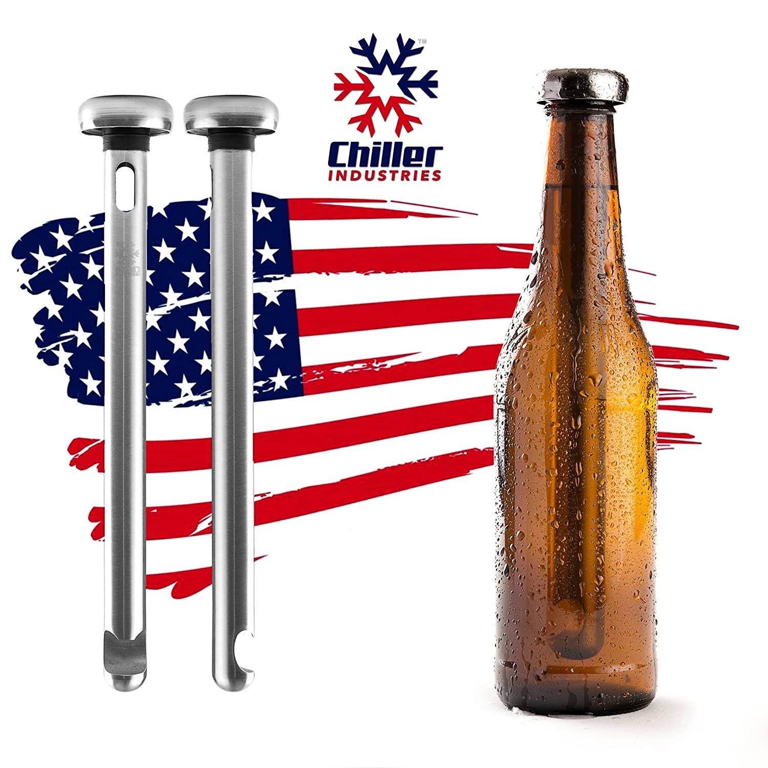 Beer Chiller By Chiller Industries - 2 Pack / Built-In Bottle Opener / Stainless Steel Drink Chiller Sticks Keep Bottled Drinks Cold / Cools Beverage Without Watering It Down