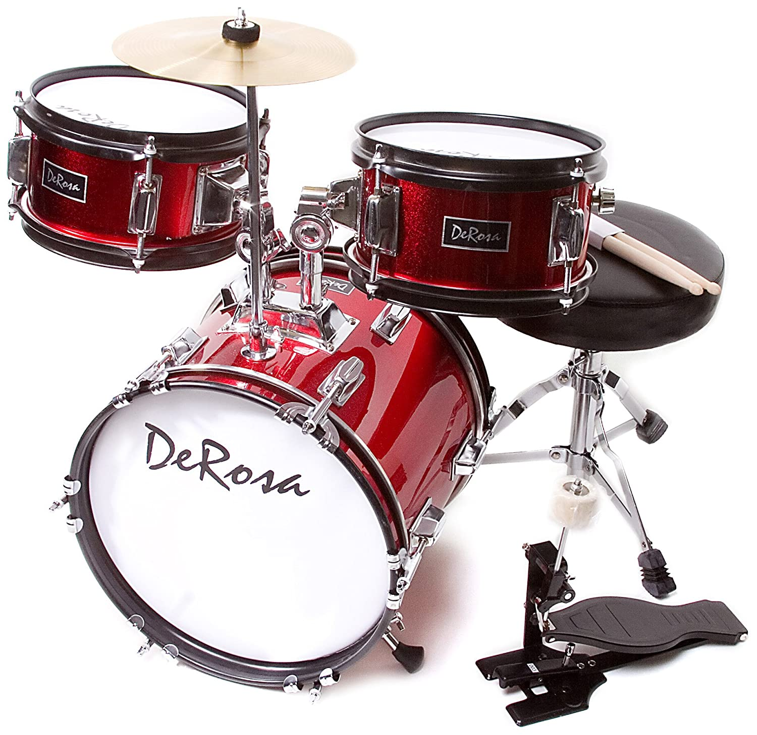 De Rosa DRM312 RD Children s 3 Piece 12 Inch Drum Set with Chair
