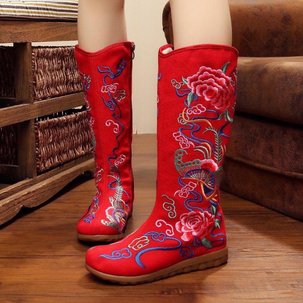Dagly(TM) 民族刺繍ハイバタフライフラワーブーツ B074QL41TT 7.5|赤 赤 7.5