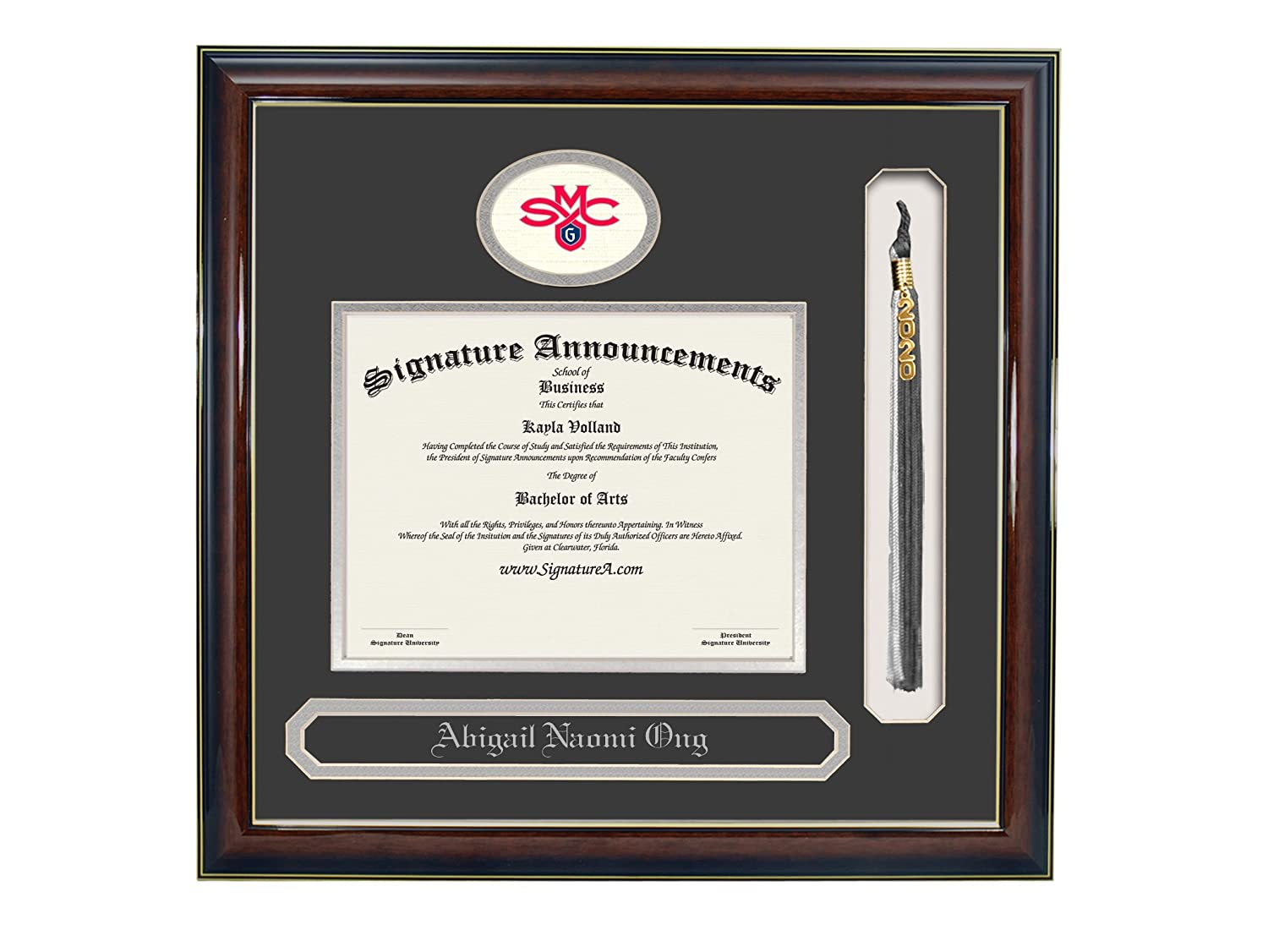 Signature Announcements Saint-Marys-College-of-California Undergraduate Name /& Tassel Graduation Diploma Frame Professional//Doctor Sculpted Foil Seal 16 x 16 Gold Accent Gloss Mahogany