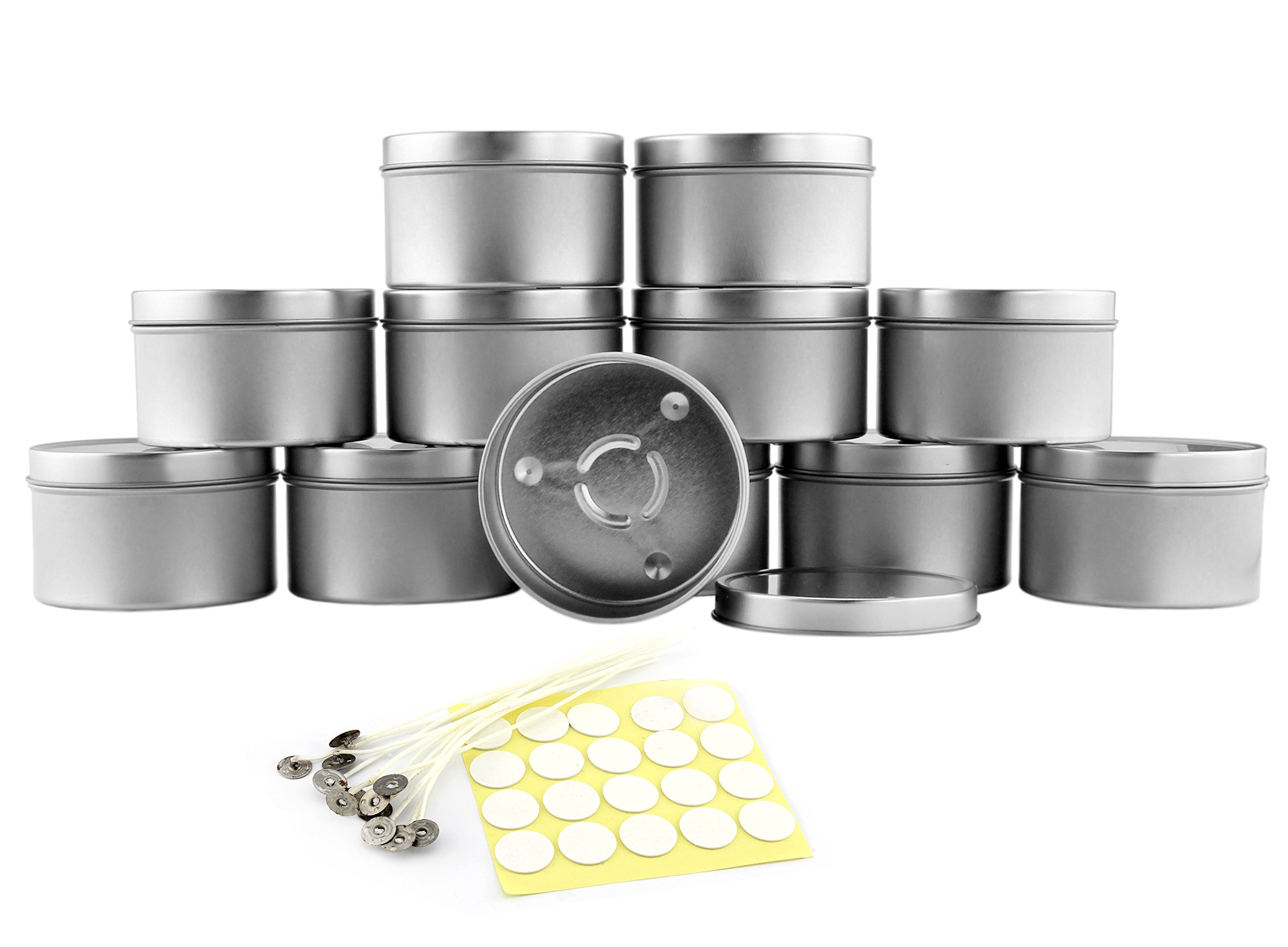 8-Ounce Candle Tins, Wicks & Wick Stickers (12-Pack); Round Metal Containers w/ Wick Guide & Feet for Candle Making, Includes Wick Stickers & Wicks Too