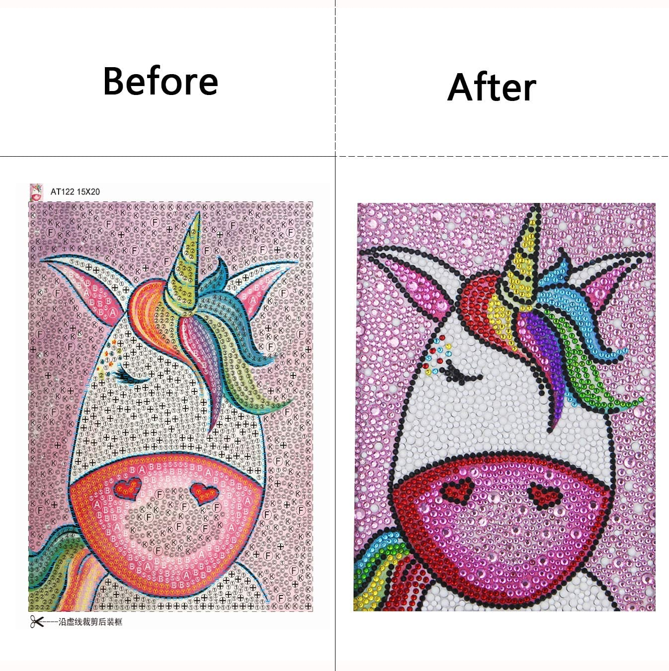 N2 5d Diamond Painting Small and Easy DIY Kits Mosaic Making with White Frame for Kids Unicorn