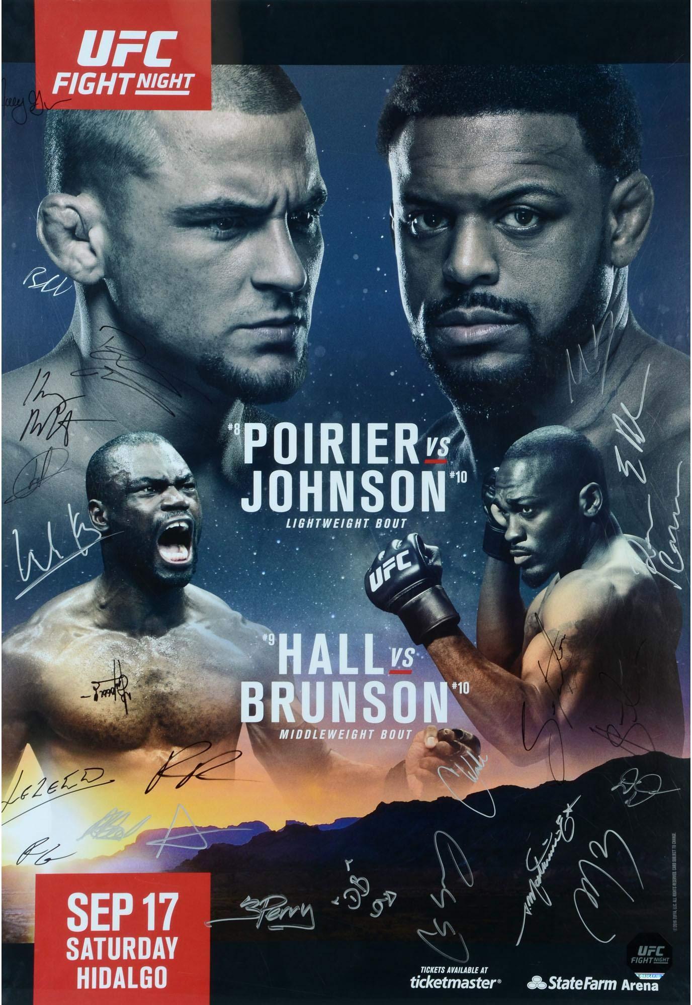"UFC Fight Night 94 Poirier vs. Johnson Autographed 27"" x 39"" 24 Signature Fight Poster Fanatics Authentic Certified"