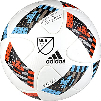 530d200f9 adidas Performance MLS Official Match Soccer Ball, White/Shock Blue/Black