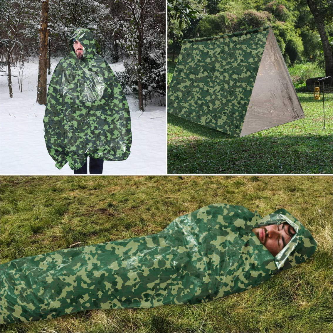 Chasse Camping activit/és de Plein air Idefair Sac de Couchage durgence avec sifflet de Survie imperm/éable l/éger Sac de Survie avec sifflet de Survie pour randonn/ée