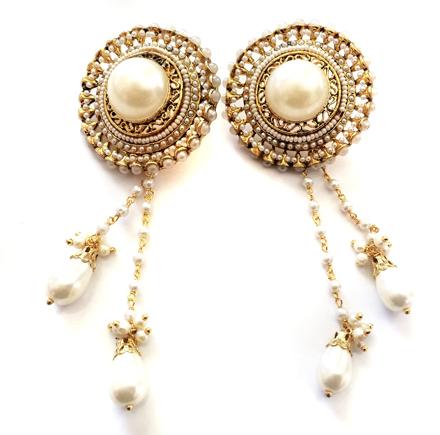 Amazon pearl kashmiri earrings gold chandelier earrings amazon pearl kashmiri earrings gold chandelier earrings bridal wedding earrings taneesi jewelry arubaitofo Gallery