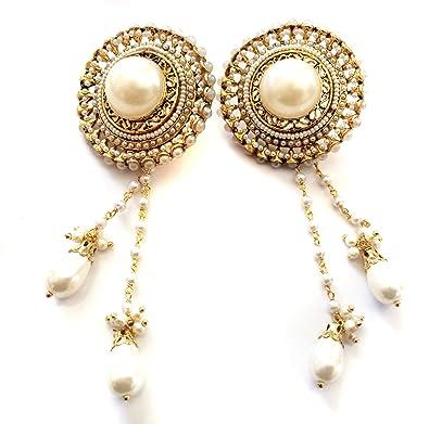 Amazon pearl kashmiri earrings gold chandelier earrings pearl kashmiri earringsgold chandelier earringsbridal wedding earrings taneesi aloadofball Images