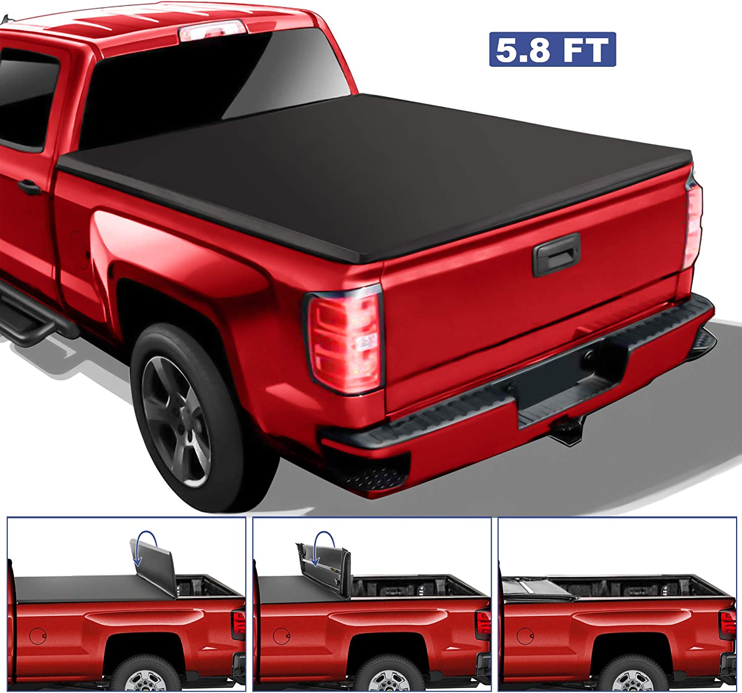 fits 14-18 5.8 Bed 53109 Made in the USA Gator ETX Soft Roll Up Truck Bed Tonneau Cover 2019 GMC Sierra Limited//Chevy Silverado 1500 Legacy