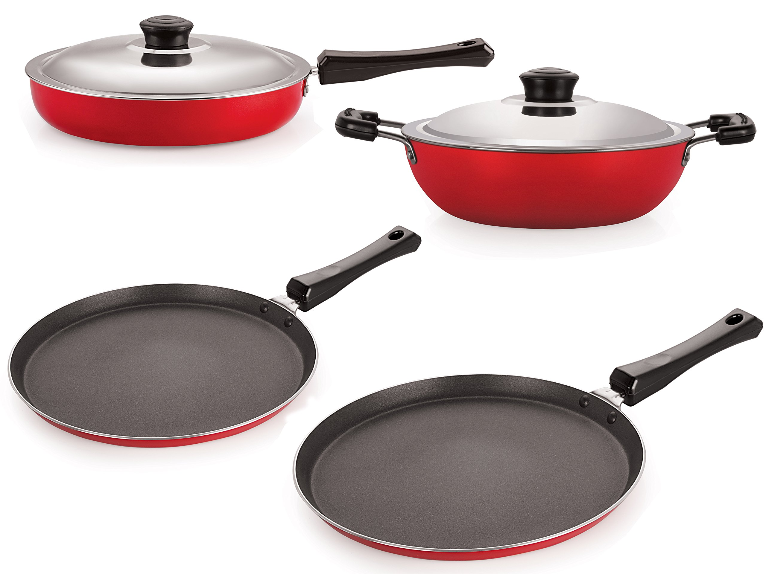 Nirlon Non-Stick Kitchenware Kitchen Cooking Utencil Combo Set Offer, (FT13_FP13_DKDB_FT10),Red  Black Color